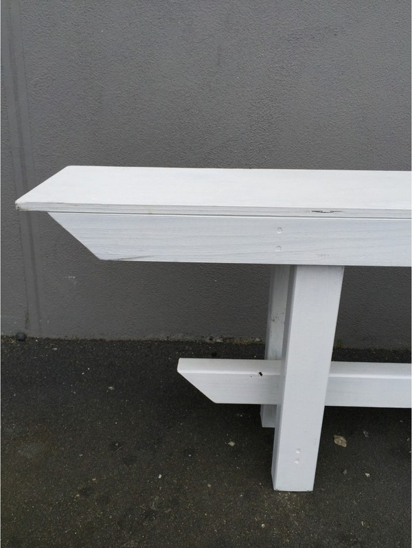 Wooden Bench Seat White 2 4m
